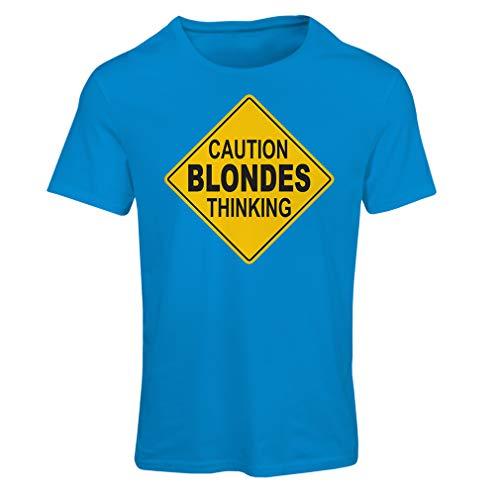 lepni.me Frauen T-Shirt Vorsicht, Blondinen Denken - lustiges Zeichen (Large Blau Mehrfarben)