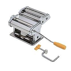 axentia Nudelmaschine verchromt, Pasta-Maker für Lasagne-Platten, Spaghetti oder Bandnudeln, manuelle Pastamaschine mit Kurbelantrieb, 9 Teigdicken