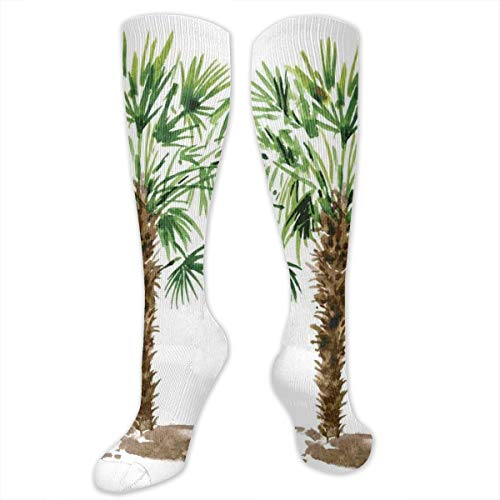 Unisex Highly Elastic Comfortable Knee High Length Tube Socks,Exotic Hawaiian Palm Leaves Hand Drawn Watercolor Tropical Nature Silhouette,Compression Socks Boost Stamina,Fern Green Brown -