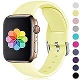 HUMENN Kompatibel mit Apple Watch Armband 38mm 40mm 42mm 44mm, Weiches Silikon Klassisch Sport Ersatzband für iWatch Series 4,3,2,1, 38mm/40mm-S/M Milch Gelb