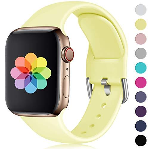 HUMENN Kompatibel mit Apple Watch Armband 38mm 40mm 42mm 44mm, Weiches Silikon Klassisch Sport Ersatzband für iWatch Series 4,3,2,1, 38mm/40mm-M/L Milch Gelb -