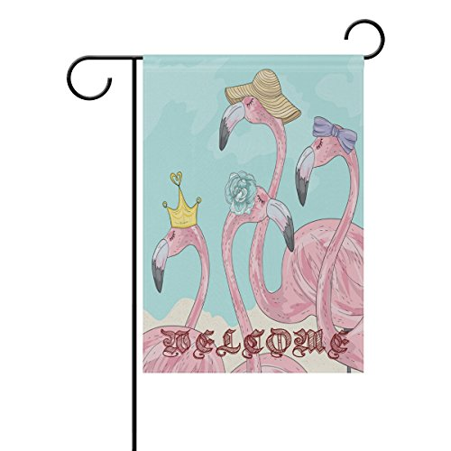 ALAZA Double-Sides Summer Garden Flagge, Funny Tropical Plant und Flamingo Hat Ananas Welcome Yard House Flaggen Polyester Banner für Outdoor Decor 12x18in Mehrfarbig 2