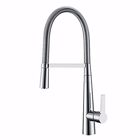 ASIBG Home Kitchen Sink Tap, Zinc Alloy Single Type Pull Type Cold And Hot Water Tap