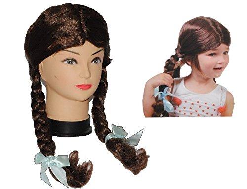 Kinder Perücke - braun lang 2 Zöpfe glatt für - 4 bis 8 Jahre - Mädchen Kinderperücke braune lange (Mädchen Teenager Kostüme Märchen Für)