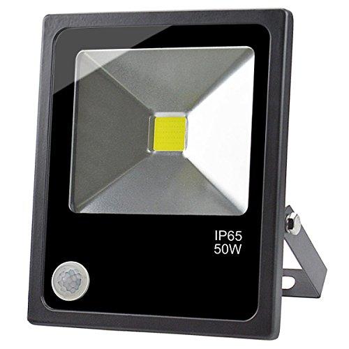 Bewegung Empfindlich Freien Licht Im (GLW LED 50W Bewegungs Sensor Fluter,Super Heller Tageslicht weißer Scheinwerfer mit PIR,Im Freien IP65 Imprägniern Flutlicht,300W Halogen Birnen Äquivalent,6000k,4500lm,3.28ft/1m Draht,240V Wand-Licht für Yard,Korridor,Lager)