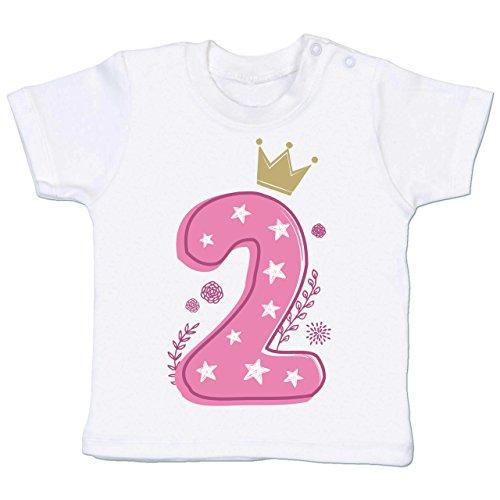 Shirtracer Geburtstag Baby - 2. Geburtstag Mädchen Krone Sterne - 18-24 Monate - Weiß - BZ02 - Babyshirt Kurzarm