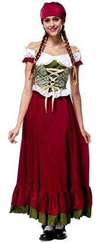 Mittelalterliche Wirt Kostüm - I-CURVES Damen mittelalterlicher Dienstweib Oktober fest Biermädchen bayerischer Wirt Kostümgröße 42-44