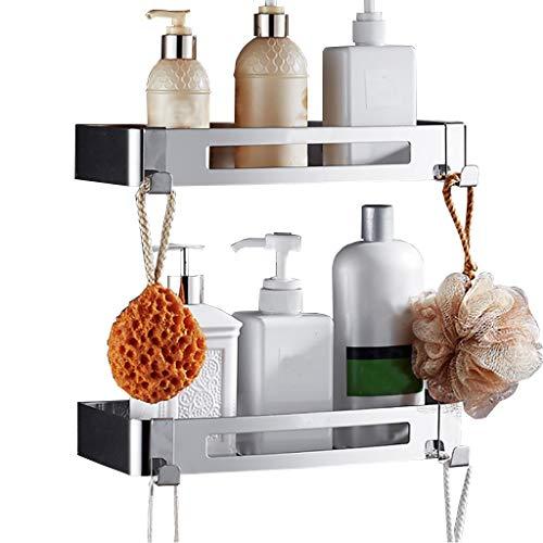 YYJJDT LYX Regal, Edelstahl-Badezimmer-Gestell Kein Bohren Nehmen Sie Einen Dusch-Eck-Rahmen Wand-Badezimmer-Winkel-Korb-Durchschlag Freies Becken-Quadrat-Speicher-Saug-Wand-Regal (Farbe : 2-Tier)