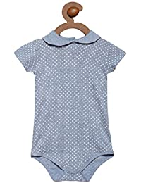 Berrytree Premium Quality Organic Cotton Peter Pan Collar & Short Sleeves Printed Pattern Onesie - Blue