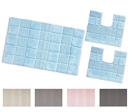 Arrediamoinsieme-nelweb tappeto bagno multiuso 100% cotone morbido assorbente lavabile in lavatrice mod.afef set 3 pezzi grigio (g)