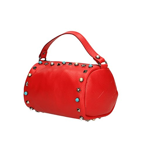 Chicca Borse Borsa a mano in pelle 18x12x12 100% Genuine Leather Rosso