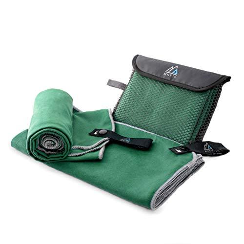 MNT10 Mikrofaser Handtuch mit Tasche I Grün 80 x 150cm I klein & schnelltrocknend I Premium Reisehandtuch in verschiedenen Farben & Größen I Ideal als Fitness, Sport, Sauna, Badetuch, Strandtuch XL