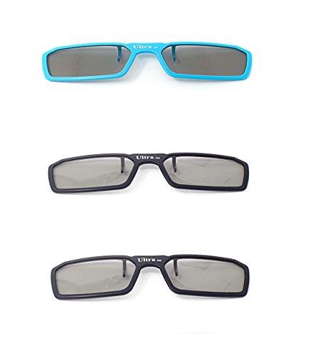Ultra 3 Paare von Clip Auf Passiven 3D-Brillen 2 Schwarz 1 Blau für Männer Frauen Geeignet Verschreibungspflichtige Brillen Rundschreiben polorized Eyewear-Stil alle Passivfernsehkinos und Projektoren Wie RealdD Toshiba LG Sony