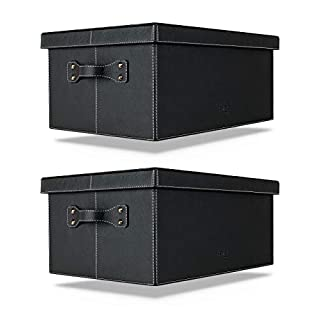 Costa I Elements Amaris Sets Storage Box with Lid Black 45X30XH20CM Square Leather Large Box with Lid and Handles I Bright Contrast Stitching I Lever Arch File Storage Boxes Box Storage Box, 2x Box
