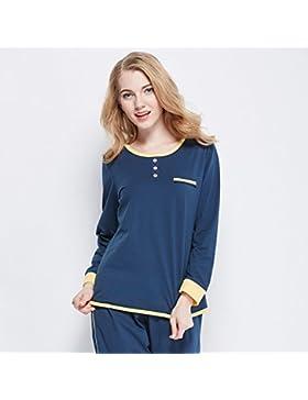 DMMSS Donna girocollo a manica lunga cotone doppio ha parteggiato pigiama set , 1 , xxl