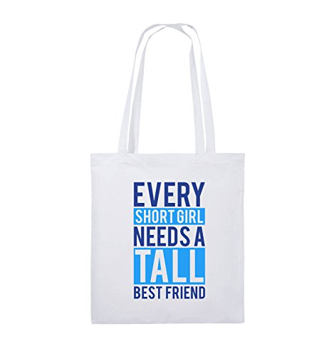 Comedy Bags - Every short girl needs a tall best friend - Jutebeutel - lange Henkel - 38x42cm - Farbe: Schwarz / Weiss-Neongrün Weiss / Royalblau-Hellblau