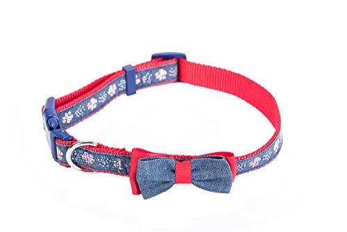 ional Flag Design Verstellbarer Weiches Pet Hundehalsband mit Fliege, Large, Rot/Blau ()