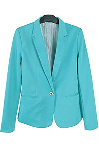 ACHICGIRL Women Refined Candy Color Blazer Foldable Sleeve Outwear Jacket Suit