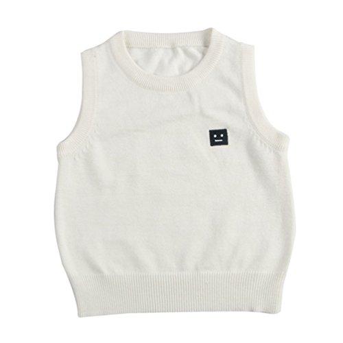 CHENGYANG Baby Ärmelloser Pullover Weste Oberbekleidung Baby Kleinkind Jungen Mädchen Sweatshirt Weiß Asia 100