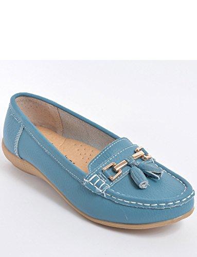 Portefeulilles En Cuir Pour Chaussure Mocassin Bleu
