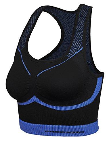 fittech Active da donna Crop Top reggiseno sportivo di Pilates Fitness Ciclismo Running, nero/verde, S nero/verde