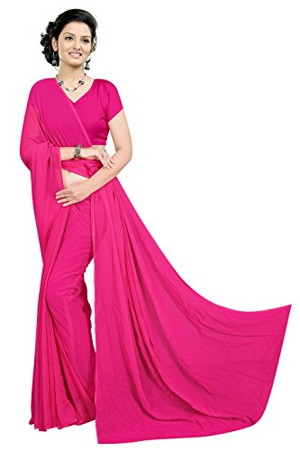 Sidhidata Textile women's 60 gram Georgette solid plain Saree With unstitched Blouse...