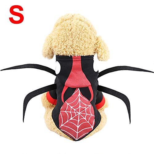 CARTEY Spider Pet Dog Halloween-Kostüm, Halloween-Haustierkleidung, Halloween-Spinnenkostüm Für Haustierkatzen Und -Hunde, Halloween-Haustier Gedrehte Kleidung