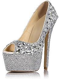 6b1eba250813bd Frauen Sexy Night Club Super High Heel Sandaletten 16cm Fisch Mund Peep Toe  Silber Glas Drill High Heels Braut…