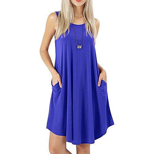 Kleider Damen Pullover Kleid Bluse Elegant Lose Langarm Einfaches Beiläufiges Strickkleid Viskose Jersey Stretch Skaterkleid, Baumwollspitze T-Shirt Kleid mit Taschen