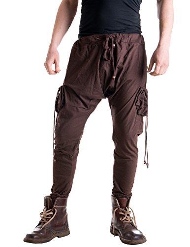 Vishes - Alternative Bekleidung - Leichte Herren Haremshose aus Baumwolle mit hohem Schritt und Tunnelzug braun Einheitsgröße