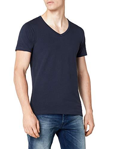 JACK & JONES Herren T-Shirt 12059219 Basic V-Neck Tee, Gr. 50 (M), Blau (NAVY BLUE) - Männer V-neck Pullover Muster