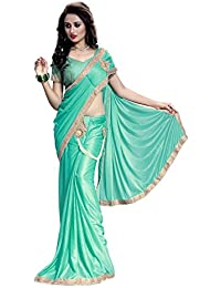The Fashion Outlets Women's Lycra Saree With Blouse Piece (Bjli-D_Rsbh_2, Rama, Free Size)