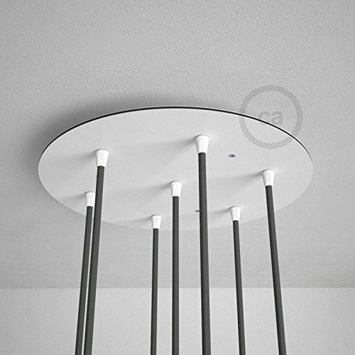 Decken-baldachin Kit (7-Loch XXL Baldachin rund, Durchmesser 35 cm, weiß, mit Befestigungszubehör)