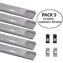 (LA) Perfil de Aluminio Pack 5x 1 m. Perfil de Aluminio LED para