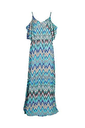 vert Melinda Zig-Zag Cold Shoulder Maxi Dress Vert