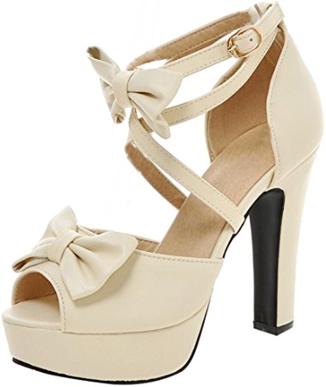 UH Mujer High Heels Platform Sandalia Tacon Ancho Plataforma con Lazo Correa de Tobillo Zapatos de Tacón Alto -
