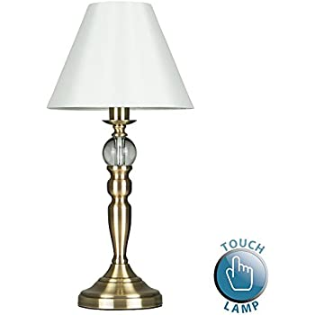Stunning vintage style antique brass touch table lamp with beautiful glass feature and pleated cream shade