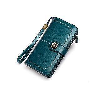 Portafoglio Donna Grande, Portamonete con Cerniera, Portafoglio con Protezione RFID, BAGTECH Porta Carte di Credito Tasche Pelle (Blu)