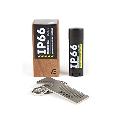 RAEDICAL - IP66 Moustache Wax + Moustache Kamm (Schurrbartwachs in Walnusholz-Koffer von FILIP FLISAR)