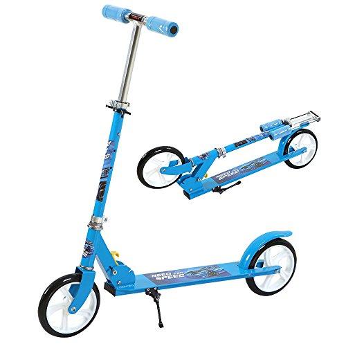 uenjoy-trottinette-bleue-patinette-pliable-reglable-2-roues-enfant