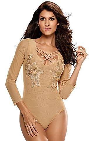 NEW Mesdames Nude Transparent en maille à manches longues en peluche lingerie Body avec applique (S / S Sheer)