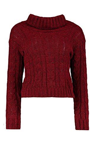 Du vin Femmes ria pull court épais en tricot torsadé chiné Du vin