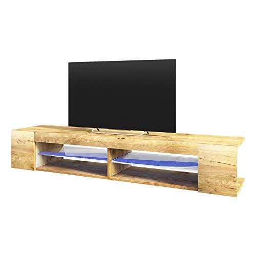 Selsey Mitchell - Meuble TV/Meuble de Salon (Effet chêne wotan, 180 cm, avec LED)