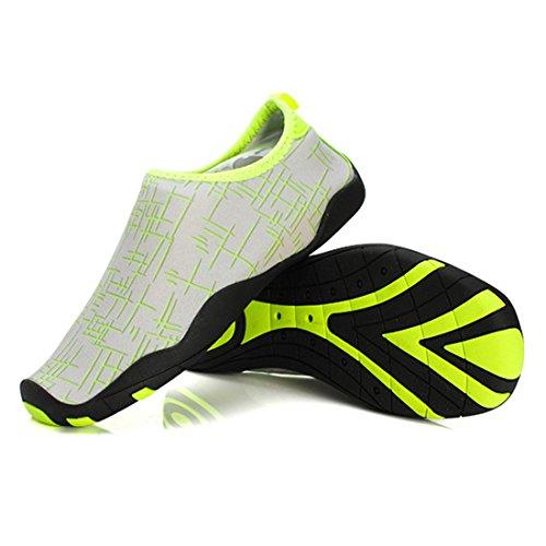 Cool&D Unisex Aquaschuhe Aqua Schuhe Atmungsaktiv Strandschuhe Schwimmschuhe Badeschuhe Wasserschuhe Surfschuhe für Damen Herren Kinder Grün
