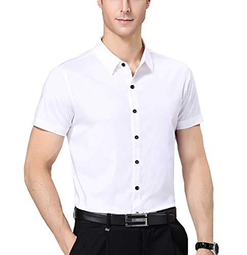 Nutexrol Herren Kurzarm Hemd für Business Hochzeit Freizeit Einfarbig Bügelfrei (3XL-(Brust:140cm,Taille:134cm), Weiß) -