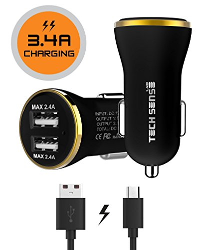 Tech Sense Lab CE & FCC Certified, 3.4A Dual USB Fast Car Charger Includes 1 Micros USB Cable Rated At 480mbps (Black n Gold)