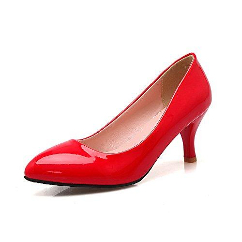 Tire Unie Pointu Correct Talon Chaussures Rouge Verni à VogueZone009 Femme Couleur Légeres Zqw47WAT