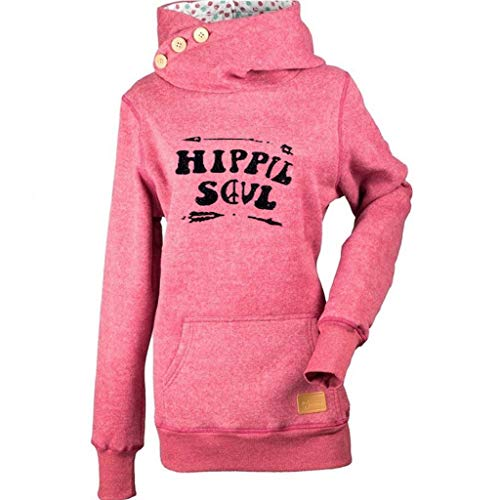 JURTEE Damen Hoodie High Neck Kapuze Lang Kapuzenpullover Langarm Winter Pullover Mit Tasche Herbst Top Bluse Oberteile(XXXX-Large,Rot)