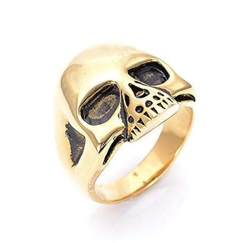 Men's 316L Stainless Steel Domineering Hyperbole Skull Ring Gold Size P 1/2