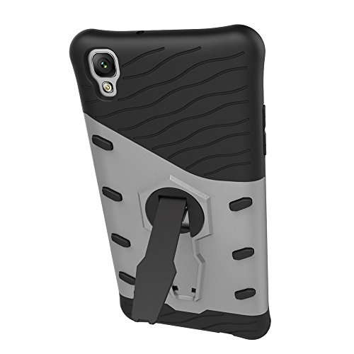 Für LG X Style Case Tough Hybrid Heavy Duty Schock Proof Defender Cover Dual Layer Armor Combo Mit Swivel Stand Schutzhülle Fall ( Color : Gold ) Silver